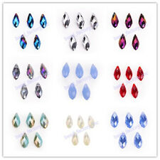 10pcs Charms 6x12mm Faceted Crystal Teardrop Pendant Beads Findings 51 Colors