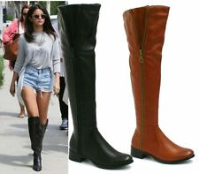 NEW WOMEN'S OVER THE KNEE HIGH LADIES CUT OUT FLAT RIDING THIGH HIGH BOOTS