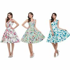 Women Vintage Style Retro Floral 50s 60s Housewife Party Swing Rockabilly Dress