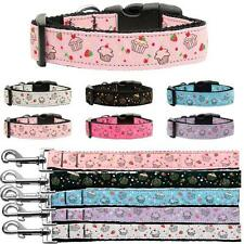New Cupcakes Nylon Dog or Cat Adjustable Collars w/ D Ring Matching Leash Avail