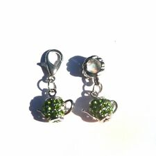 EUROPEAN OR LOBSTER CLASP CLIP ON STYLE GREEN CRYSTAL TEAPOT DROP DANGLE CHARMS