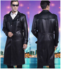 Mens Full Length Sheep Leather Blazers Long Coats Business Coats Jacket Slim Fit