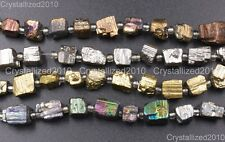 """Natural Iron Pyrite Gemstone Cutting Freeformed 6mm - 8mm Nugget Spacer Beads 8"""""""