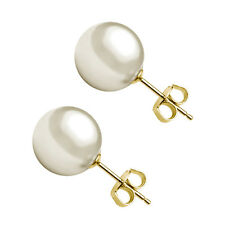3,4,5,6,7,8,9 MM White Cultured Pearl Solitaire Stud Earrings 14K Yellow Gold