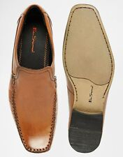 Designer Men's Ben Sherman Calf Tan Brown Smart Casual Leather Loafers Shoes NEW