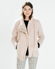 ZARA Women Coat With Funnel Collar Pink S Small