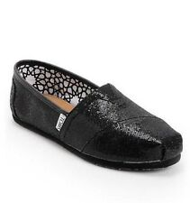 NEW IN BOX WOMEN'S 5 TOMS BLACK GLITTER SLIP ON FLATS SHOES
