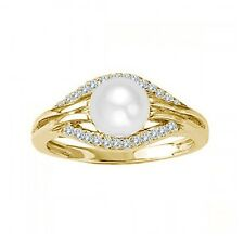 7 MM Cultured Freshwater Pearl Solitaire Designer Wedding Ring 14K Yellow Gold
