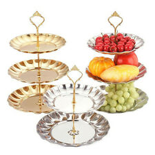 2-3 Layers Aluminum Gold Round Serving Display Cake Platter Food Stand Rack
