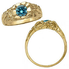 1 Carat Blue Diamond Solitaire Nugget Mens Man Engagement Ring 14K Yellow Gold