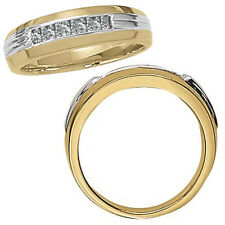 0.25 Carat G-H Classy Diamond Channel Mans Ring 14K White Yellow Two Tone Gold