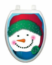 Snowman in Stocking Cap Toilet Tattoo  Removable Reusable Bathroom Decoration