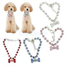 Crystal Bling Diamante Rhinestone Bone Pendant Pet Necklace Dog Puppy Cat Chain