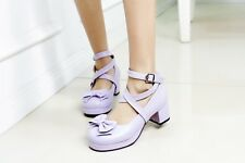 Plus Size Womens Ankle Cross Strap Mary Janes Bowknot Block Mid Heel Pumps Shoes