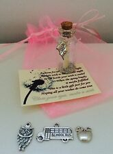 TEACHING ASSISTANT LEAVING END OF YEAR WISH IN A BOTTLE BAG CHARM MESSAGE CARD