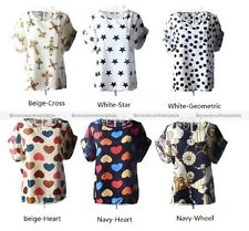 Nice Women's Colorful Chiffon Casual Summer Short Sleeves Tops T-shirts