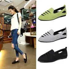 Women Fashion Slash Cut-outs Shoes Casual Fuax Suede Pointed Ballet Flats Pumps