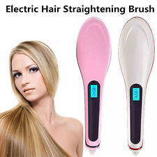 Hair Straightener LCD Brush Electric Straightening Comb Iron Ceramic Heat AUPLUG