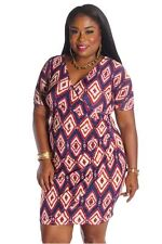 121AVENUE Printed Ruched Side Front Dress 1X 2X Women Plus Size Purple USA