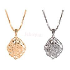 Elegant Hollow Out Leaf Pendant Necklace with Diamante Inside Sweater Chain