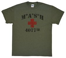 MASH 4077th tv Division Vintage Style Distressed citcom ARMY GREEN T-SHIRT