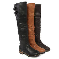 Mogan Double Buckled Shaft Knee High Pu Leather Riding Boots