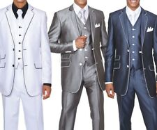 Men's Slim Fit Suits Set Wool Feel with pants & vest included Black/White 5702V1