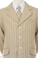 BOY Khaki pin Stripe Formal Dress Tuxedo w/Vest 5-piece Suit Set size S-XL 2T-20