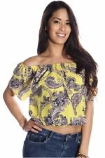 121AVENUE Vibrant Printed Loose Fit Top S M Small Medium Women Yellow Other