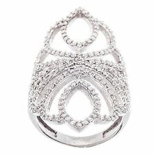 NEW 14K WHITE GOLD VERMEIL Open Oval Filligree Style Knuckle CZ Ring-Bridal-925