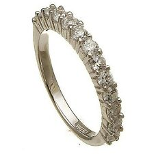 14K WHITE VERMEIL13 STONE CUBIC ZIRCONIA ETERNITY  WEDDING BAND RING -925/SS