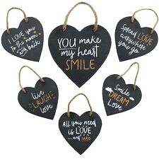 Slate Love Heart Hanging Plaque Door Wall Sign Family Laugh Cute Wedding Gift
