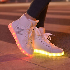 High top girls new shoes simulation led luminous shoes adult flashing led shoes