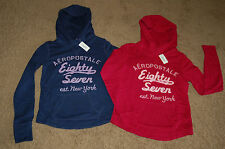 NWT AEROPOSTALE Embroidered Stacked Pullover Hoodie Pink Navy XS S M L XL LQQK!