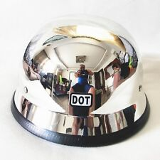 DOT Motorcycle Helmet Chrome German Style Half Face Cruiser Biker Protector