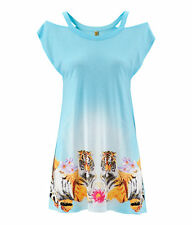 H&M Loves Music Aqua Blue Tiger Dress Tunic Beach Cut-Out Shoulders UK 8 & 10