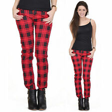 Red Tartan Checked Plaid Skinny Slim Fitted Stretch Pants Punk Trousers Jeans