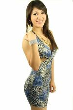 121AVENUE Sexy Criss Cross Halter Dress M L 1X Medium Large Women Blue