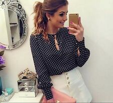 Long Sleeve Women Tops Shirt Blouses Summer Casual Round Neck Chiffon