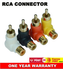 2x RCA Male to Female AV Connector Right Angle Reduce Stress Adapter AU Stock