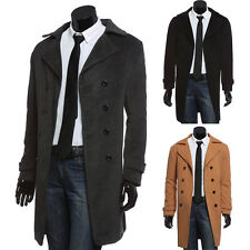 Korean Mens Wool Coat Winter Double Breasted Peacoat Trench Overcoat Long Jacket