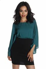 121AVENUE Two Tone Open Shoulder Dress S M Small Medium Women Green Cocktail