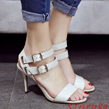 Fashion Women Stiletto Heel Roman Sandals Buckle Summer Hollow Shoes Size New