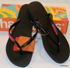 HAVAIANAS Genuine NEW Ladies Slim THONGS FLIP FLOPS BLACK NEON PINK Surf Asstd