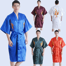 Men Silk/Satin Robe bath gown Nightwear Japanese Chinese Kimono Nighty Dressing