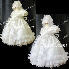 #C7 Baby Girls Baptism Christening First Holy Communion Party Bonnet Gown Dress