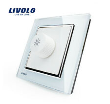 LIVOLO AC100-250V Crystal Glass Panel Ceiling Fan Speed Control Wall Switch UK86