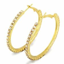 Fashion Big Large Gold Plated Crystal Hoop Huggie Earrings Earings 1.7/2.1 inch