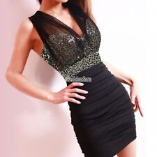 New Womens Sexy Backless V Neck Waisted Wrap Sequin Party Clubwear Mini Dress