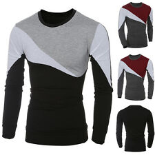 Men Stylish Casual Long Sleeve T-shirt Slim Fit Crew-Neck Patchwork Tee Tops